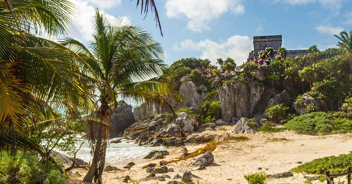 The beach and ruins of Tulum Mexico for kids