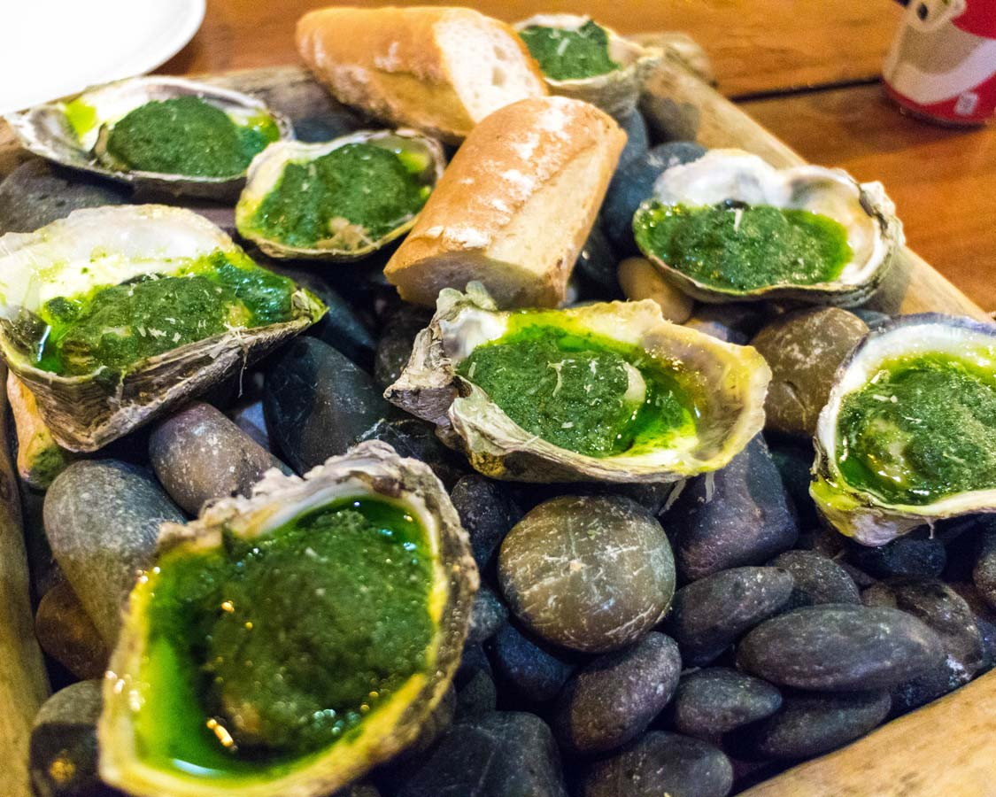 Green oysters at Pig Out restaurant in Boracay Philippiines