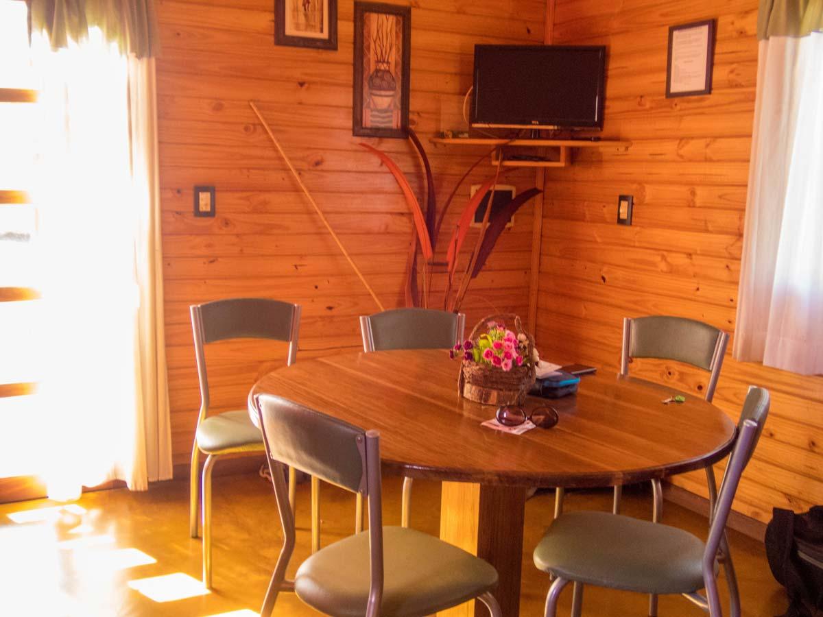 Table and TV at the Brizas del Norte hotel in San Ignacio Argentina