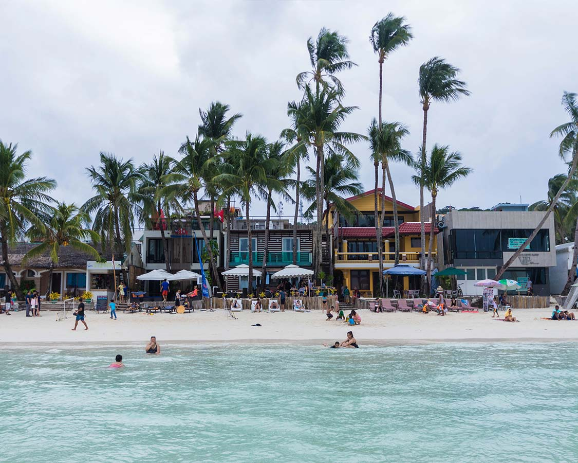 Beachfront shops and restaurants of Station 2 are among the top things to do in Boracay Philippines