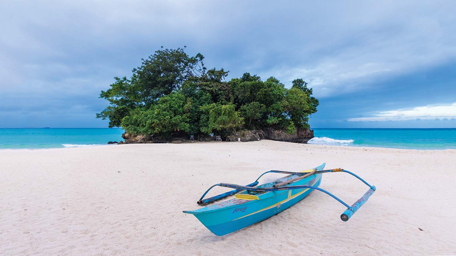 Philippine paraw boat at Punta Bunga Beach at the Movenpick Boracay hotel