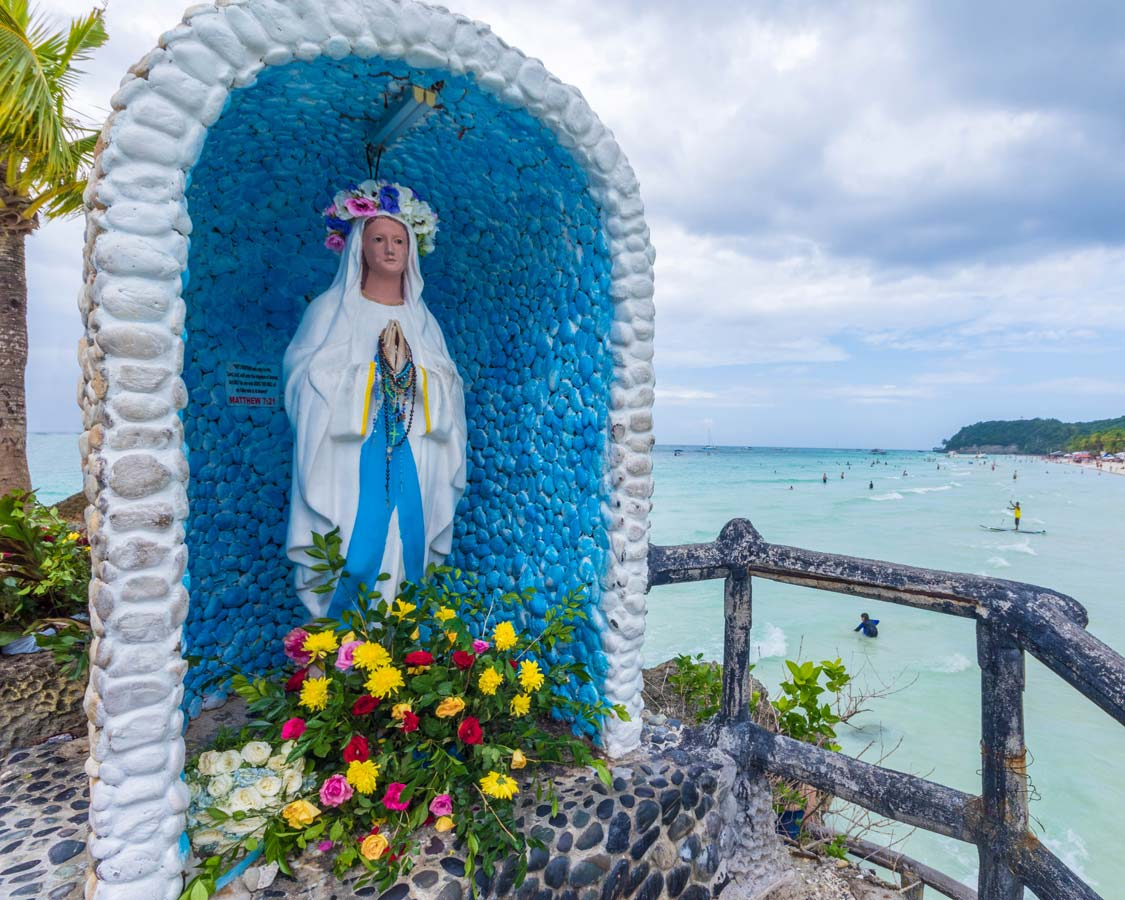 Shrine to Mother Mary on Willy's Rock in Boracay Philippines