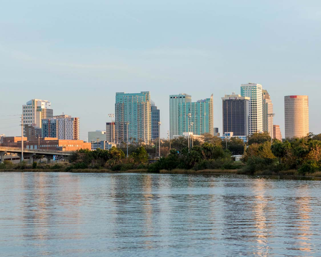 Tampa Bay Florida skyline seen from the water