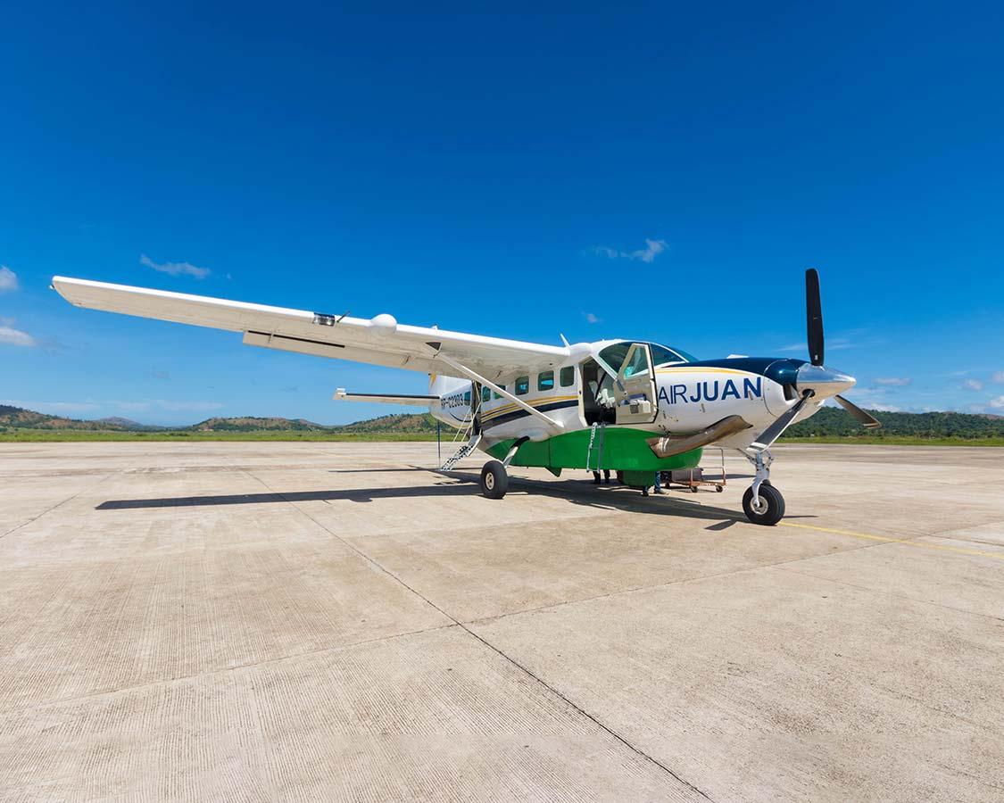 Air Juan plane in San Vincente Airport in the Palawan