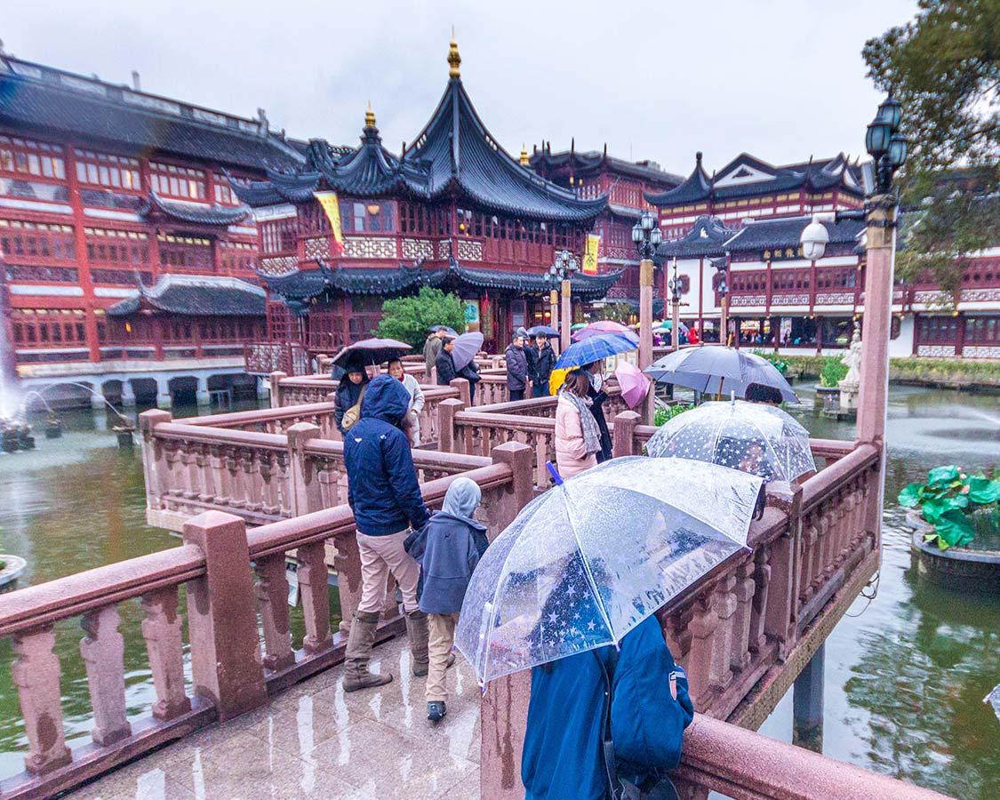 Angle bridges of old town Shanghai China