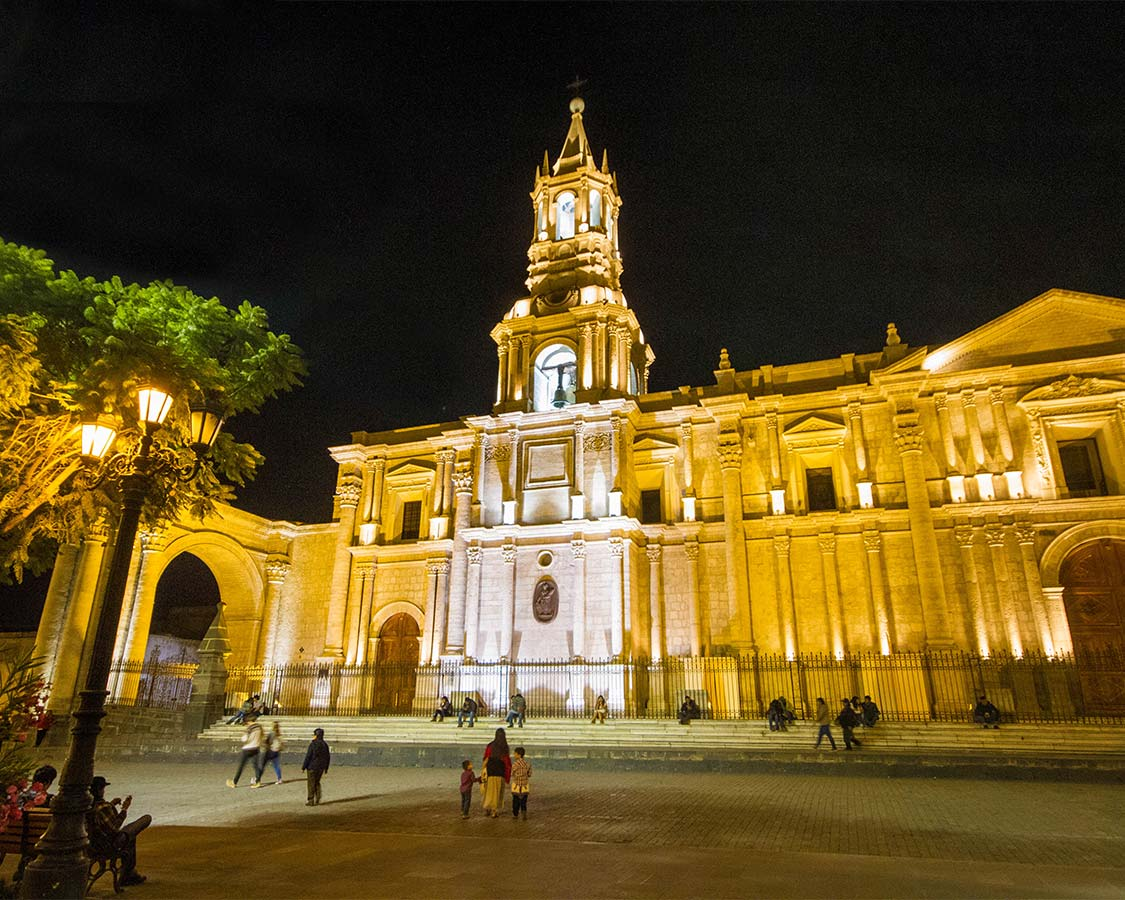 Arequipa Cathedral in Plaza dArmas in Arequipa Peru