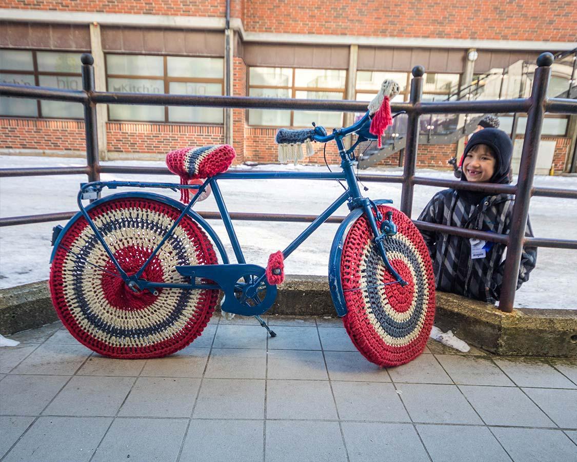 Street art Bicycle in Sandnessjoen Norway Northern Lights Cruise