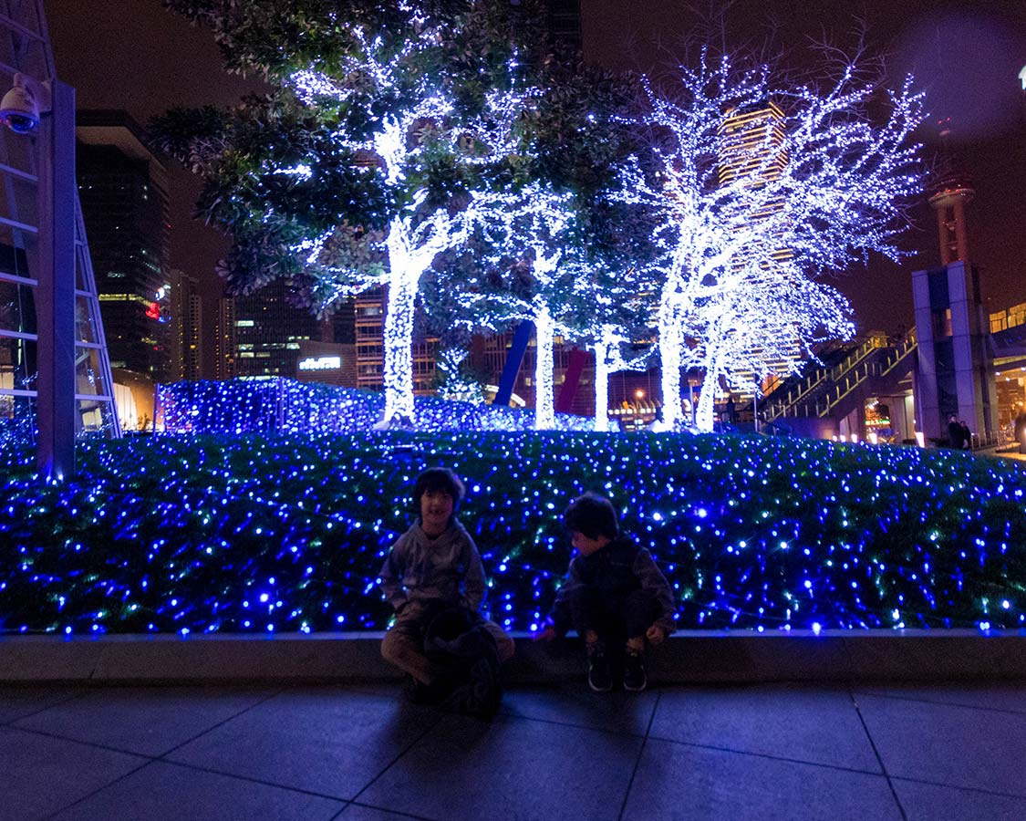 Light displays in the Lujiazui Financial District in Shanghai