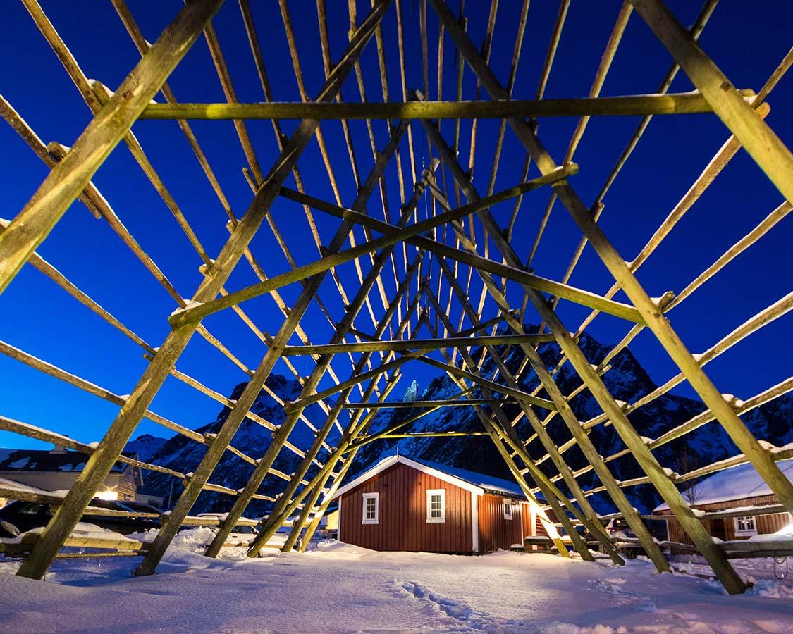 Fish drying racks in Svolvaer Norway