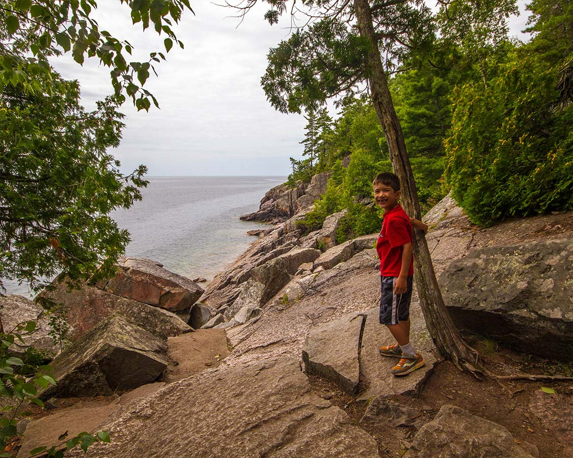 Hiking in Lake Superior Provincial Park for kids