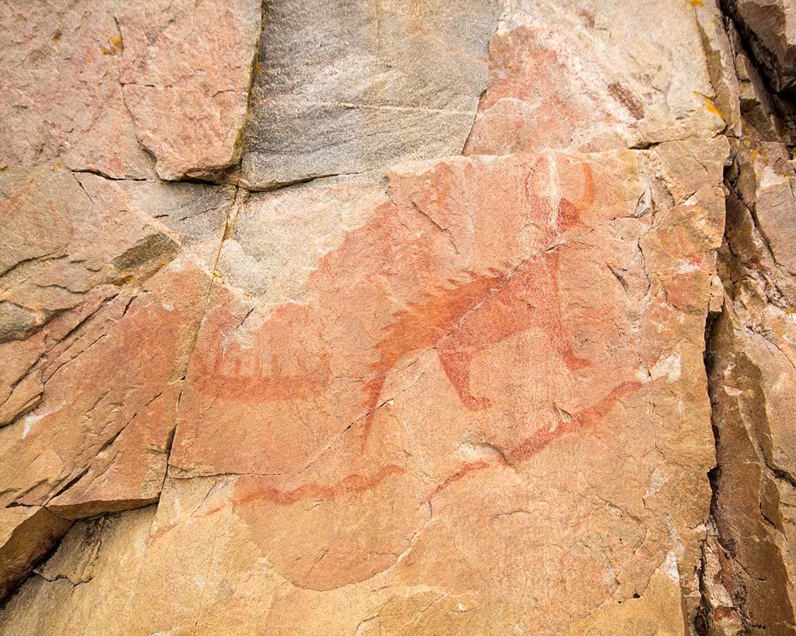 Lake Superior National Park Agawa Rock Pictographs close up