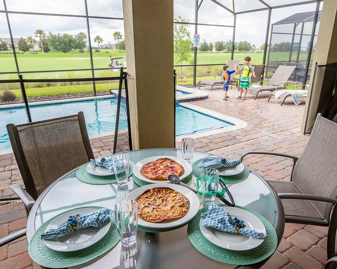 Poolside meal at a Vacation Home in Kissimmee Florida