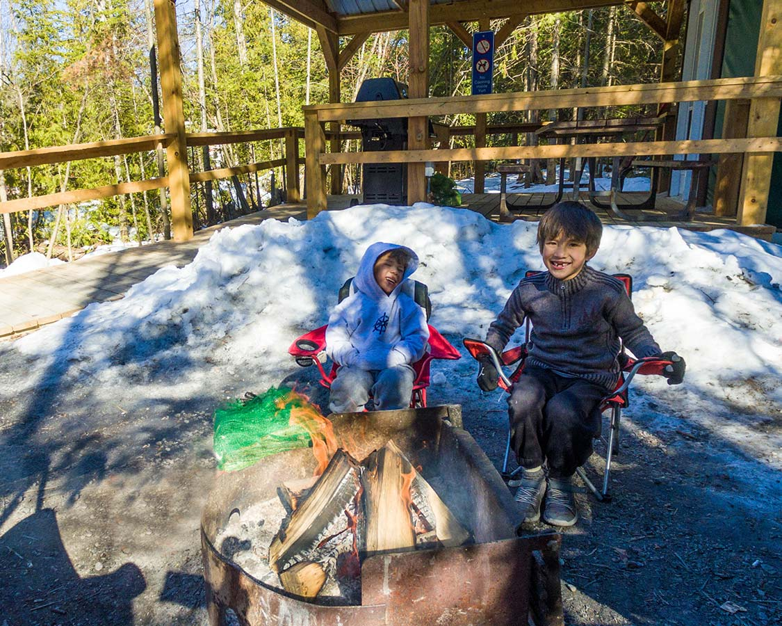 Winter Camping in MacGregor Point Fire Pit
