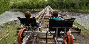 Kids on an Adirondack Rail Bike Tour