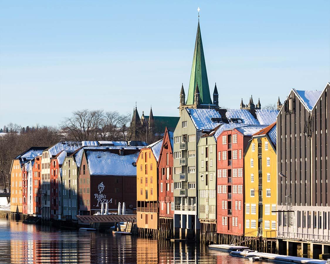 Norway winter travel Trondheim wharf