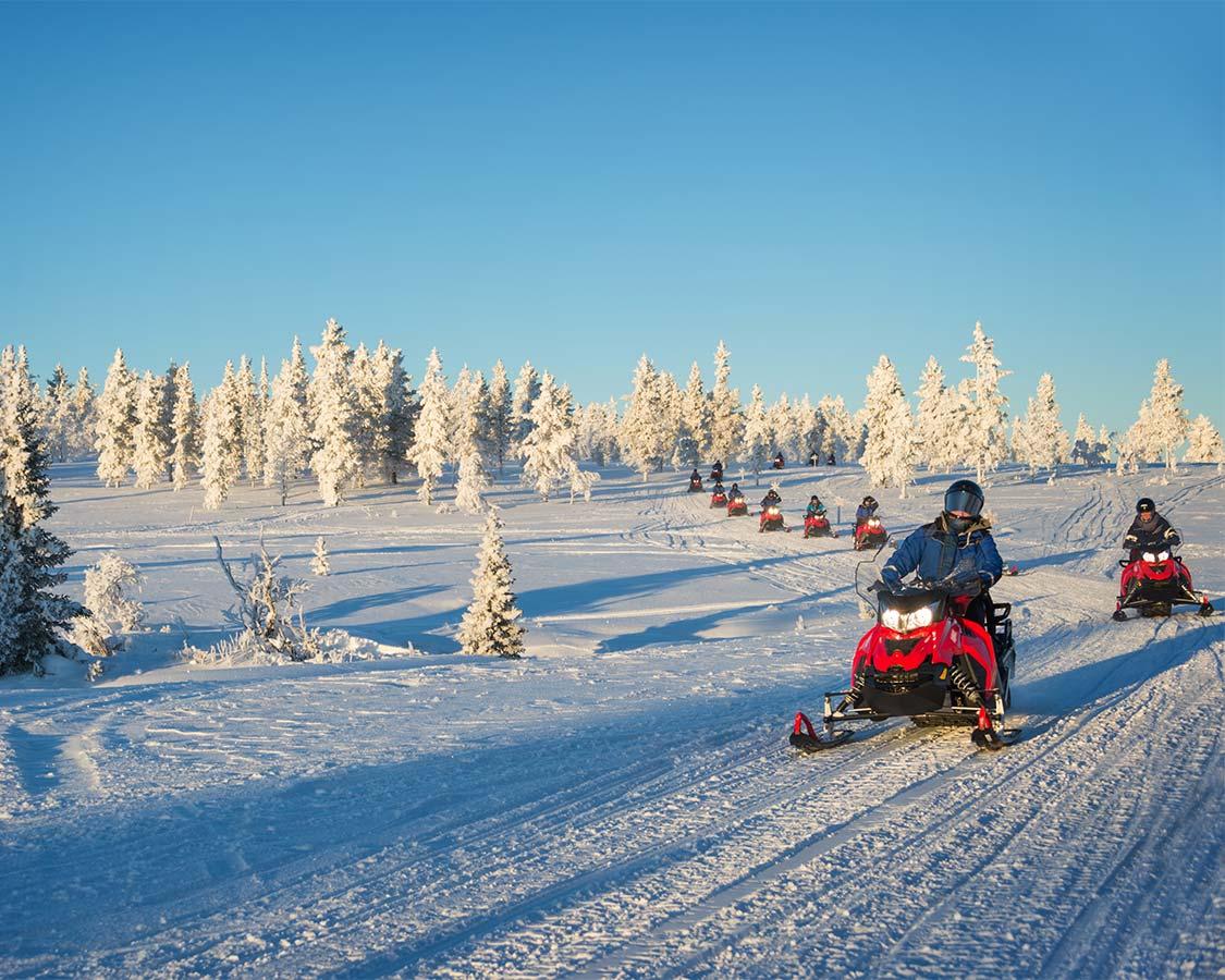 Snowmobiling in Saariselka Inari Finland