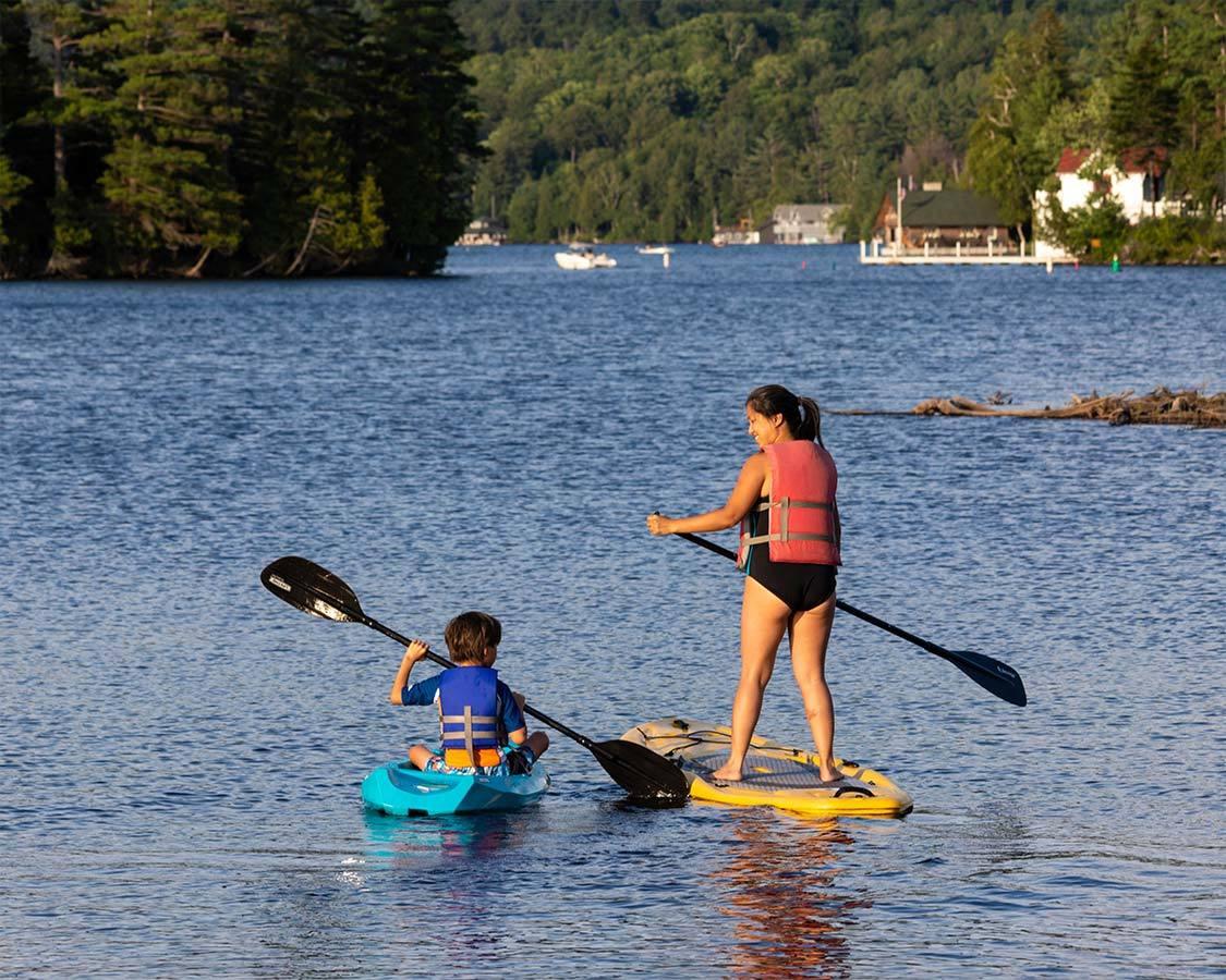 Saranac Lake things to do SUP on Lake Flower