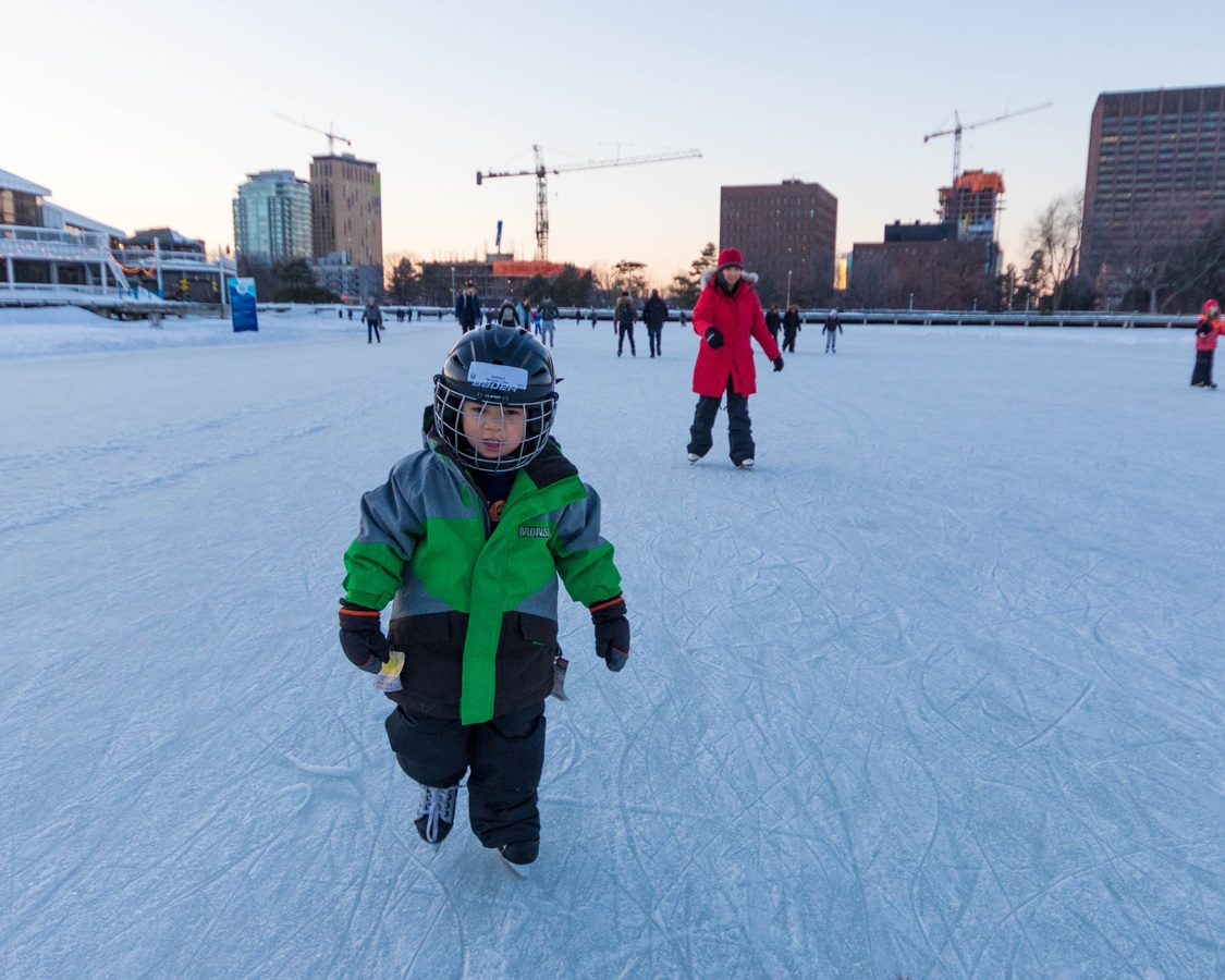 Skating on the Rideau Canal with children in Ottawa