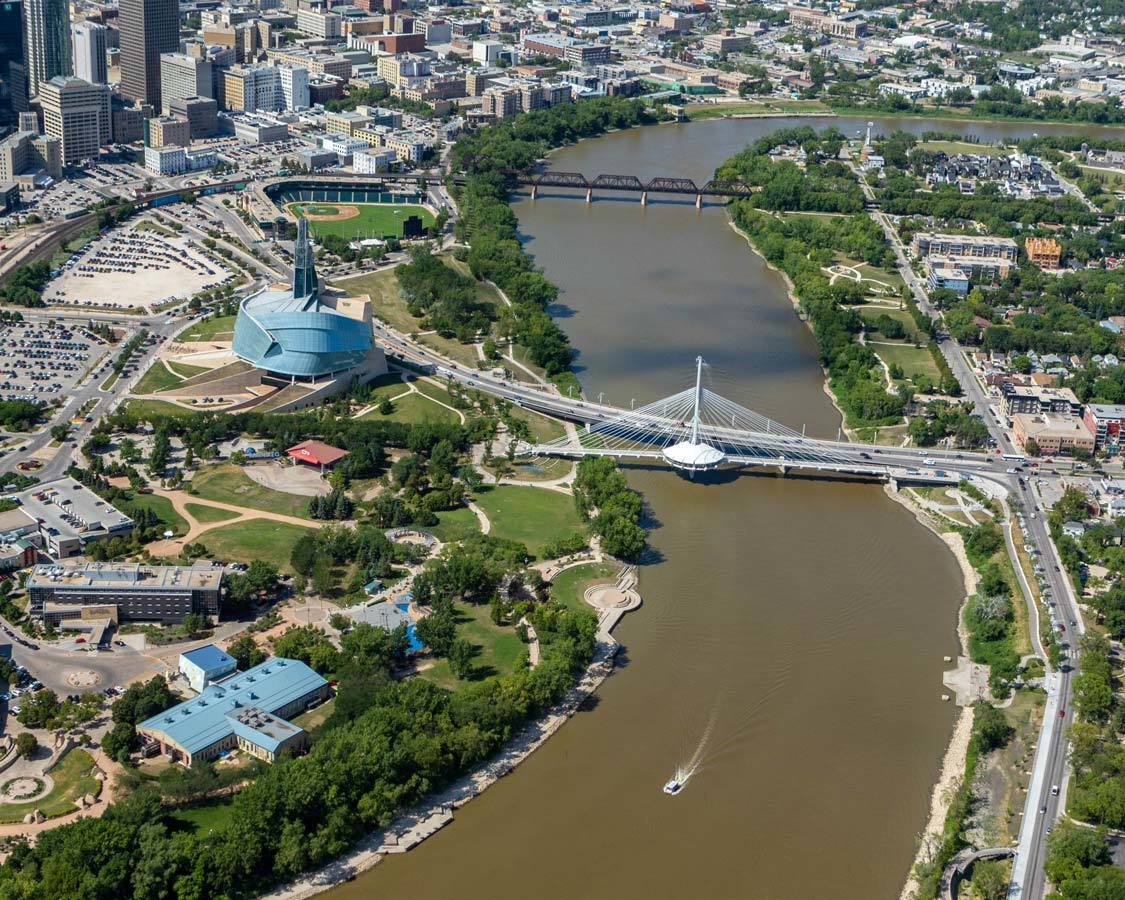 Aerial view of the Forks Winnipeg