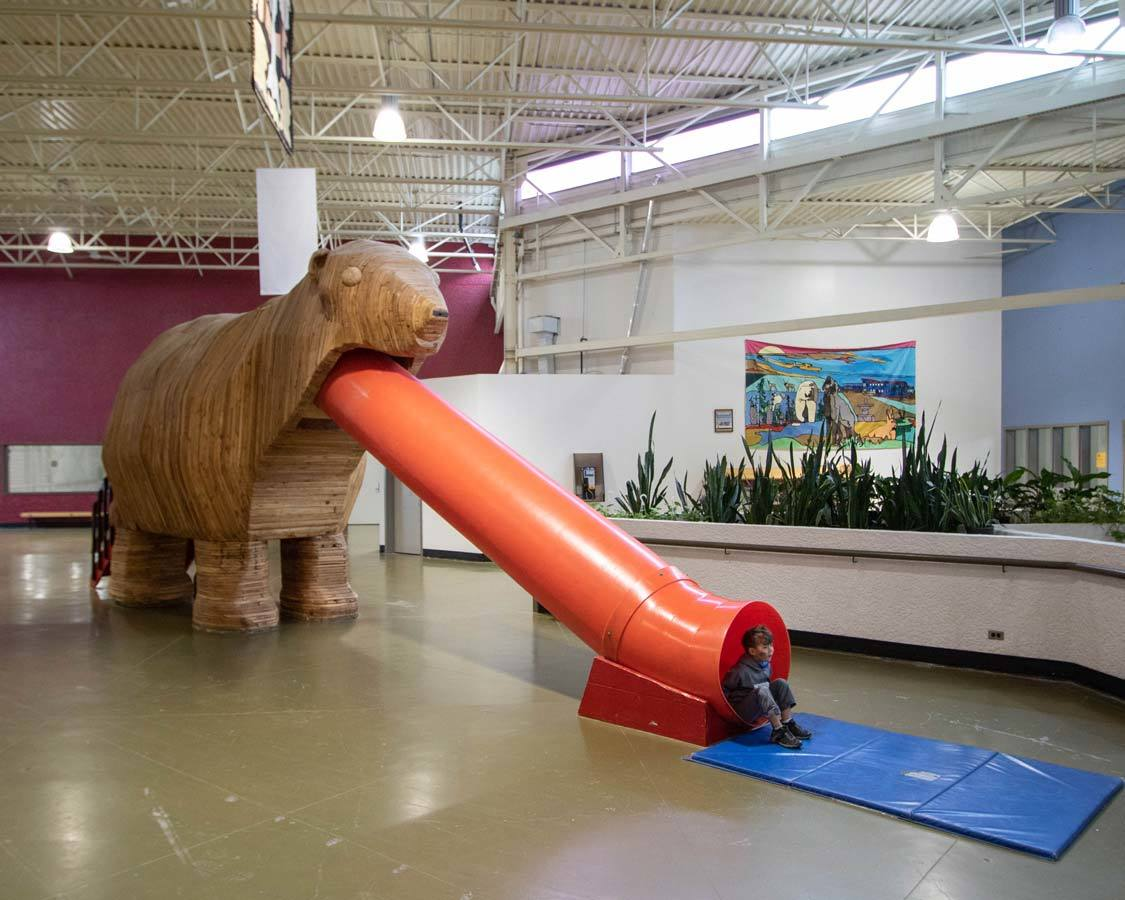 Polar Bear Slide at the Churchill Town Complex