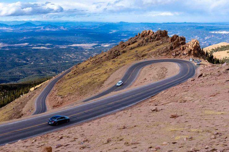 Driving Up Pikes Peak Colorado