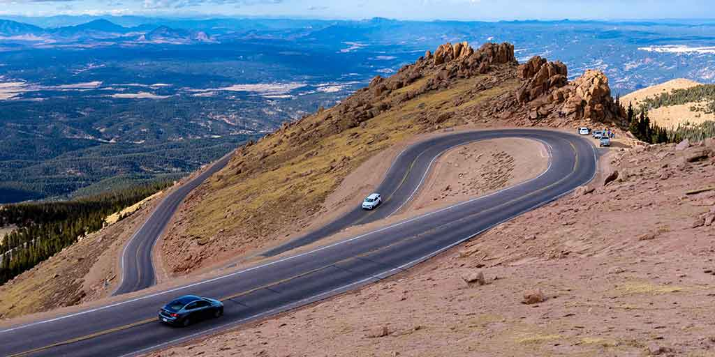 Driving Up Pikes Peak Colorado