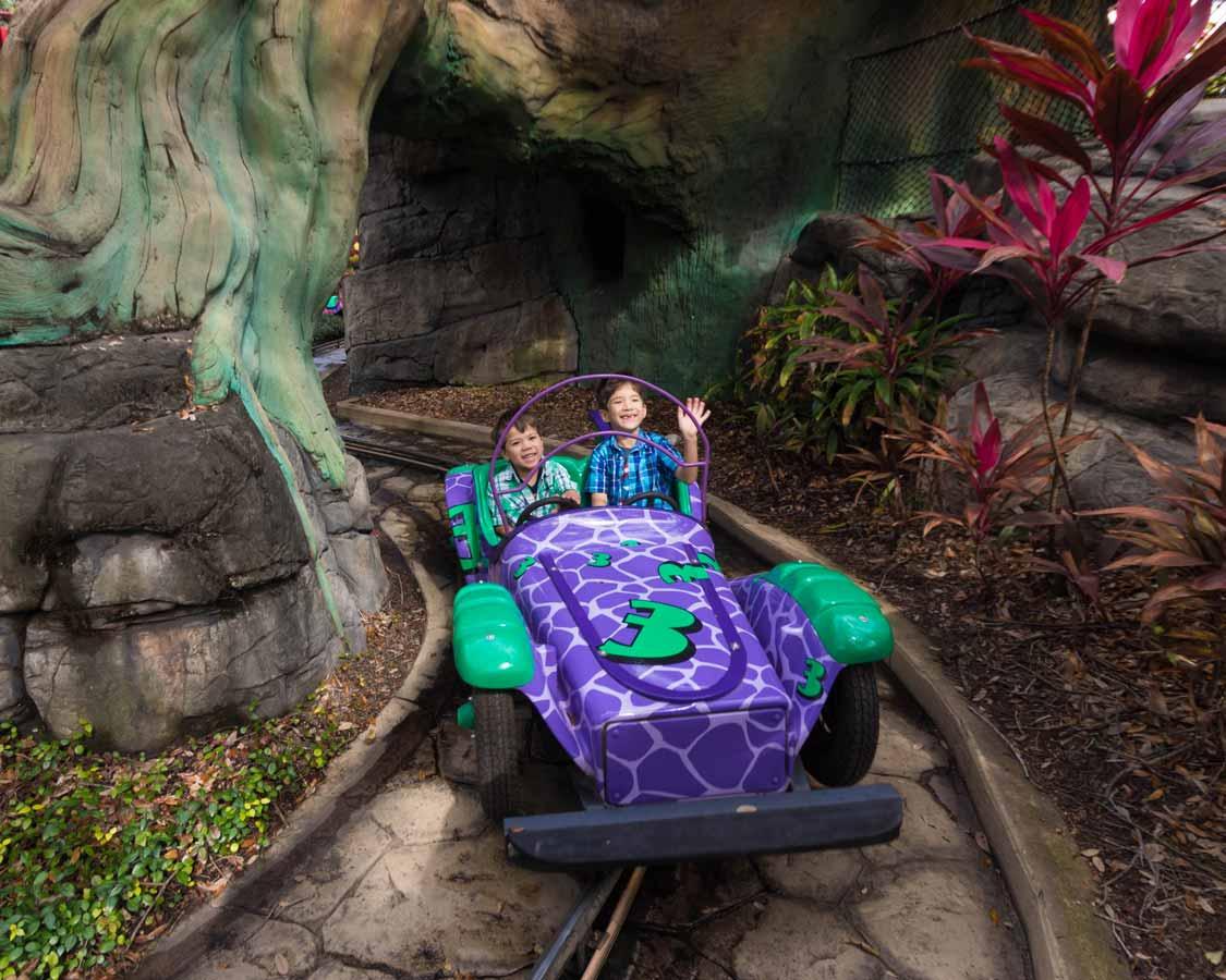 kids riding toddler rides at Busch Gardens Tampa Bay