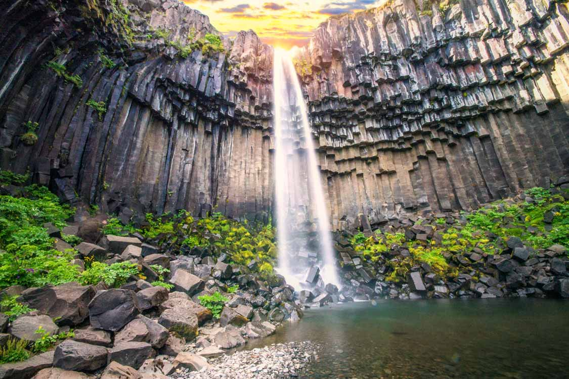 Visit Svartifoss Waterfall In Skaftafell Iceland