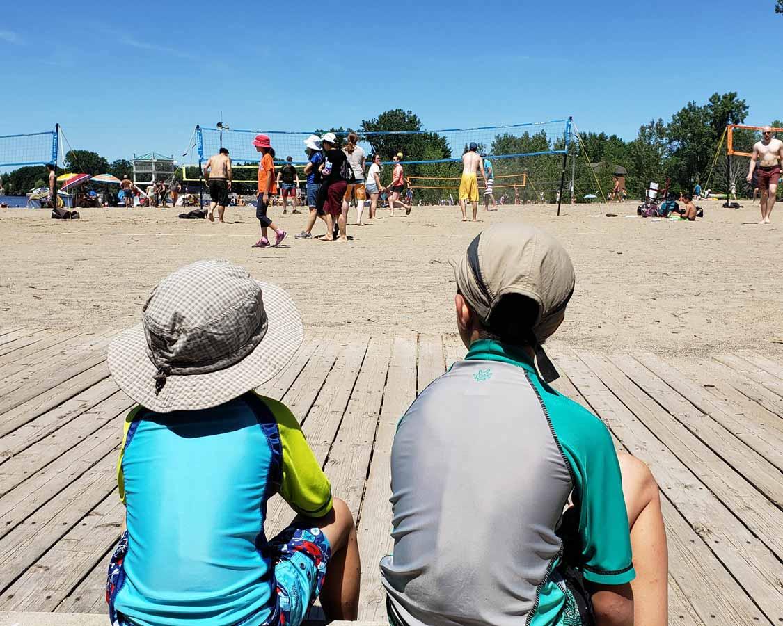 Kids relaxing at Brittania Beach in Ottawa