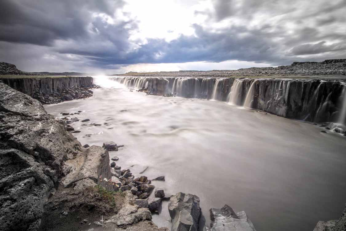 Selfoss dramatic ribboned Iceland waterfall