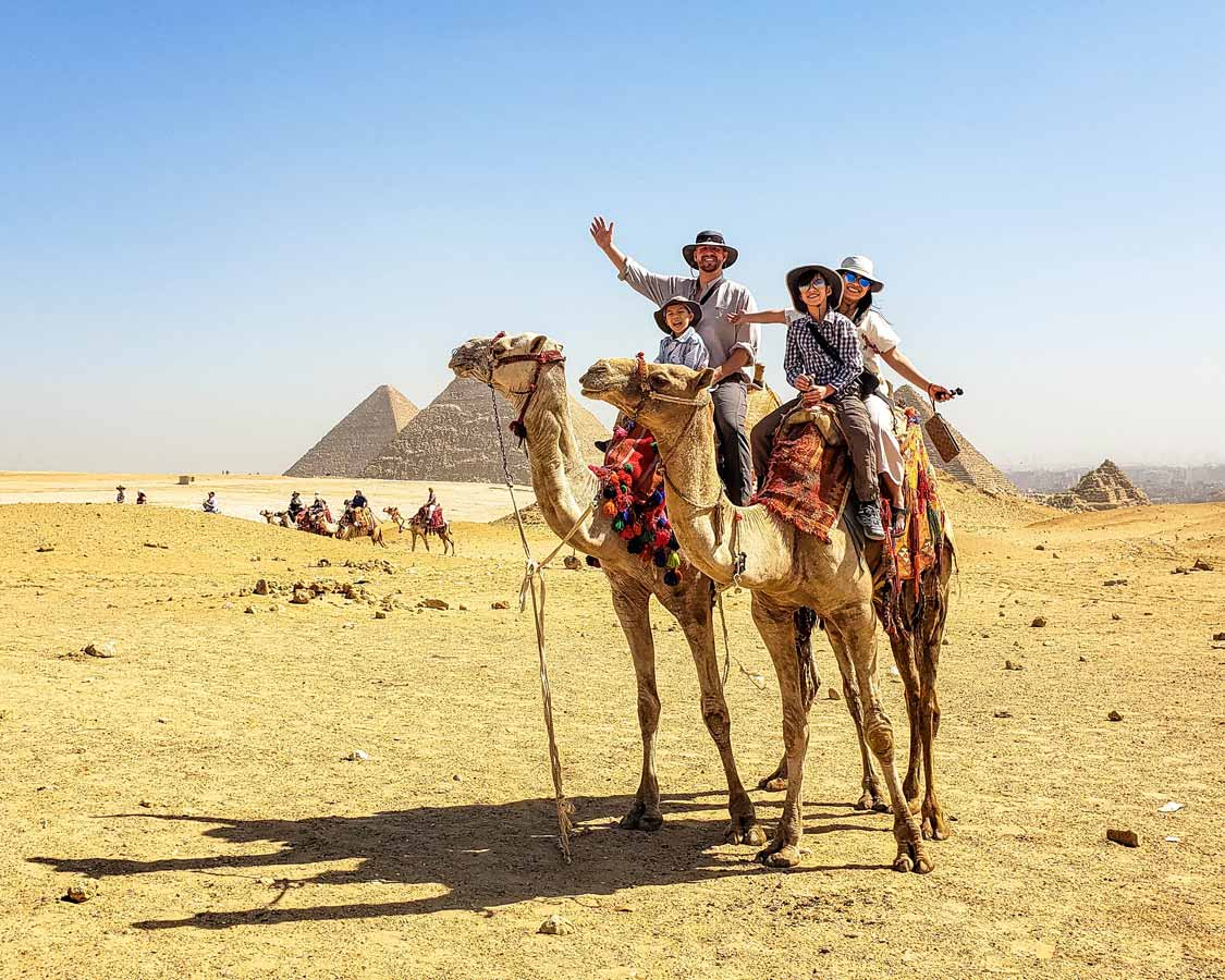 Great Pyramid Camel Ride with kids