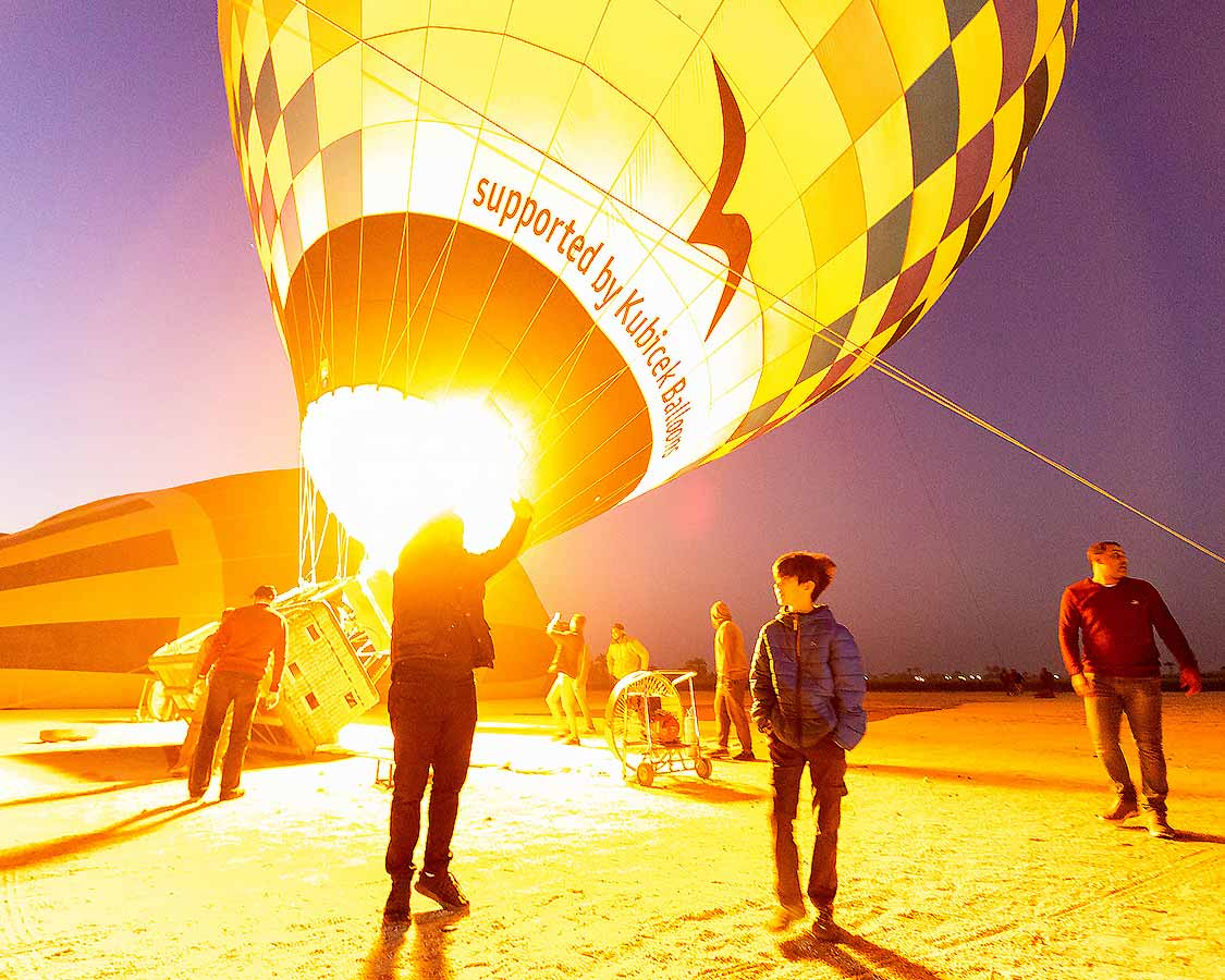 Hot Air Balloons Being Blown Up In Luxor Egypt