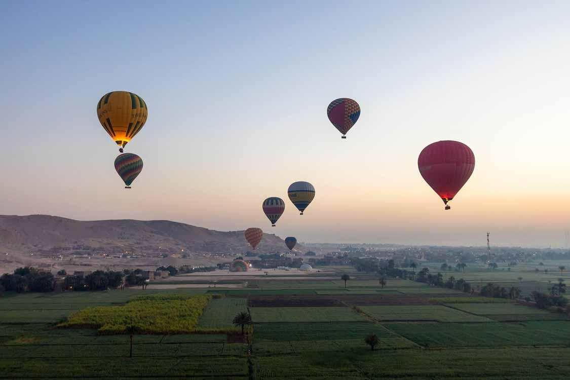 Hot air balloon over Luxor Egypt