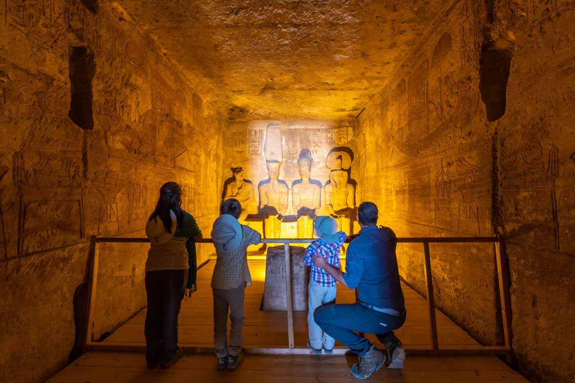 Inside the temple of Ramses II in Abu Simbel for families
