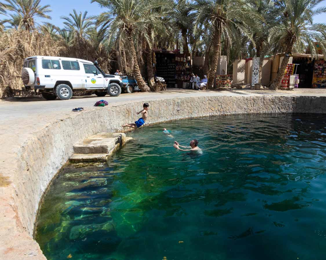Swimming in Cleopatra's Well in Siwa Egypt