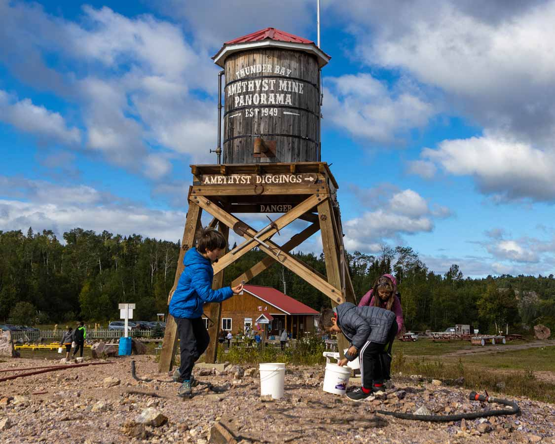 Family Searching for gems at Amethyst Mine Panorama