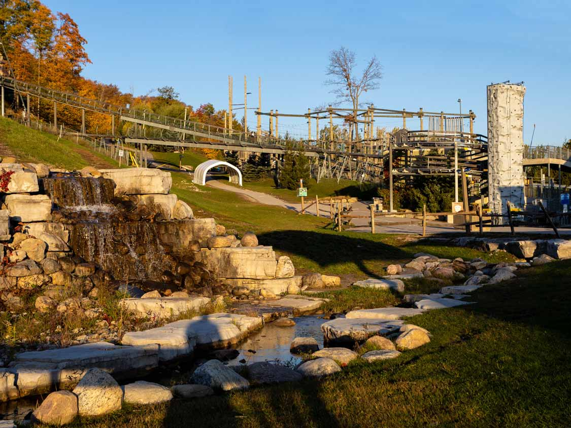 Waterfall and rollercoasters at Blue Mountain Resort