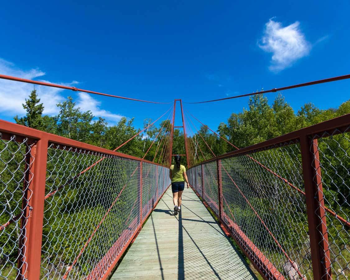 Hiking the suspension bridge in Whiteshell Provincial Park