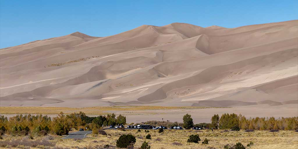 Photo of a Colorado National Park campground in front of Great Sand Dunes
