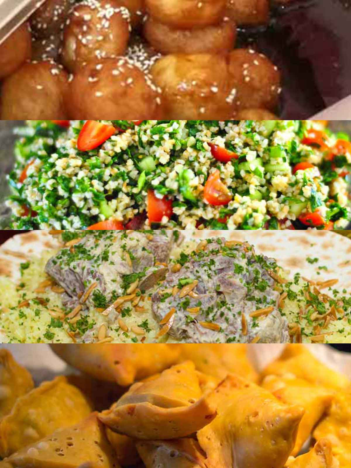 Collage of various Jordanian dishes