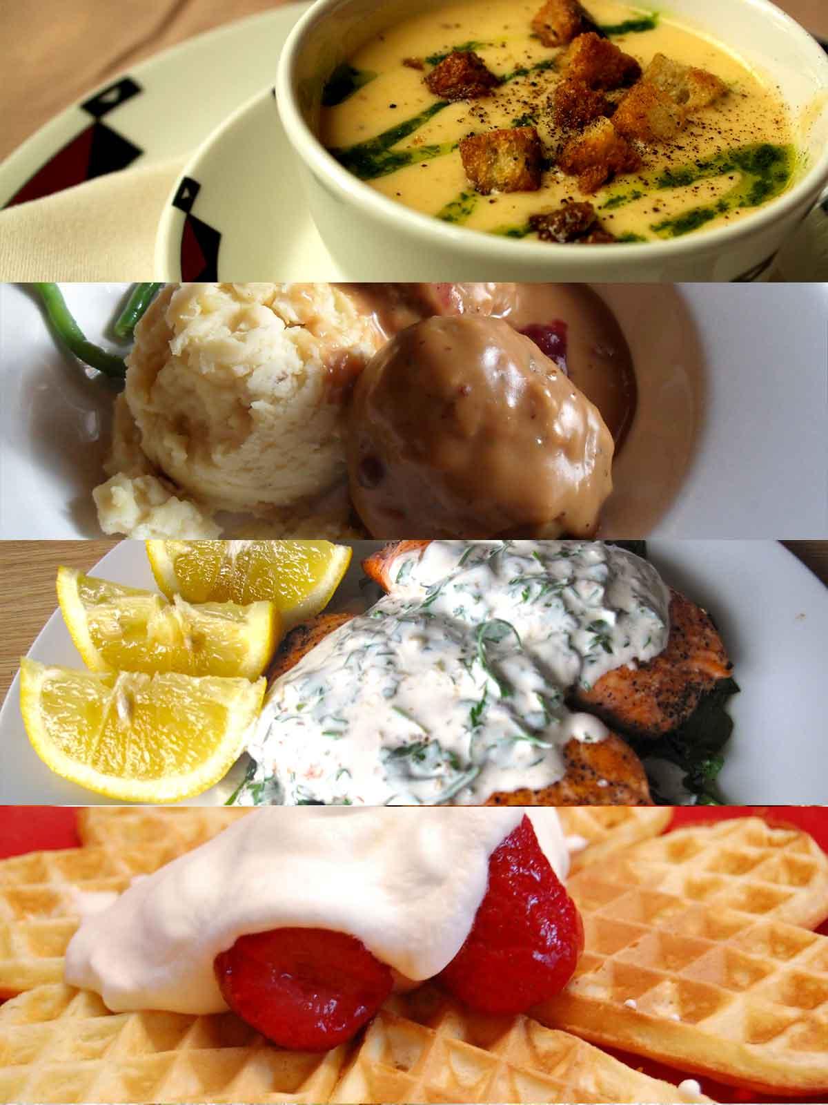 Collage of various Norwegian foods
