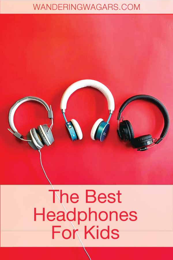 three sets of headphones for kids displayed against a red background