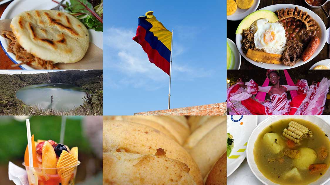A mix of various Colombian dishes centered around the Colombian flag