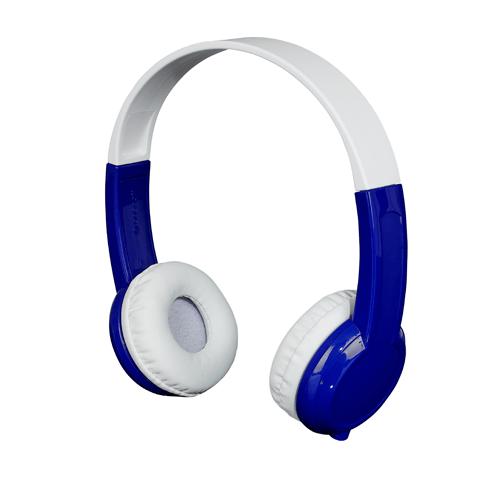 blue and white kids headphones