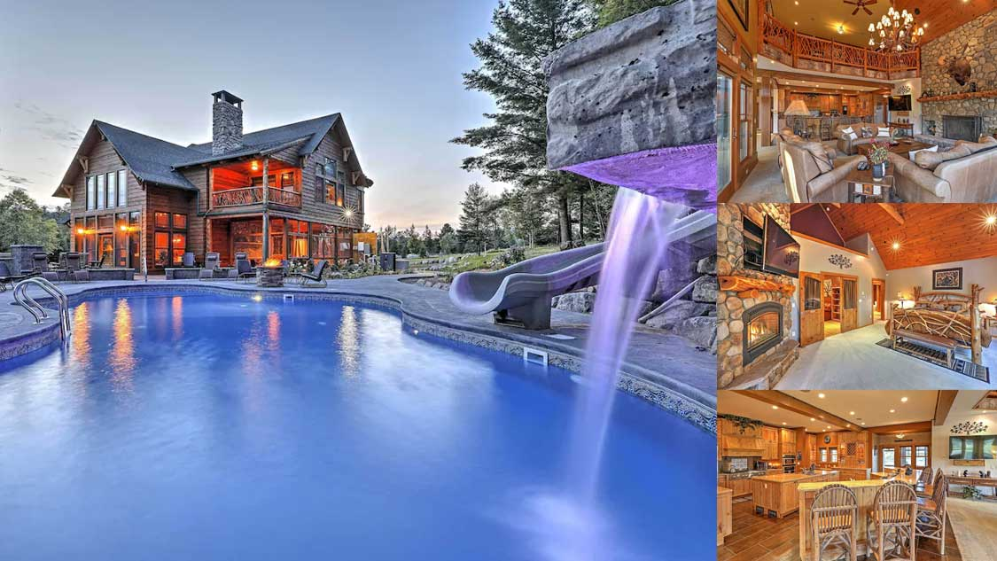 Perfect Lake Placid Mountain Airbnb rental with rock pool and waterfall