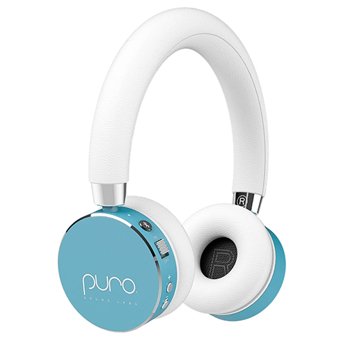 light blue and white headphones for kids with round ear covers and padded white muffs