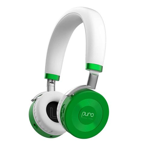 Green and white kids headphones