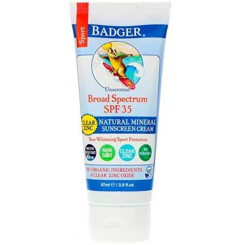 Badger natural mineral sunscreen