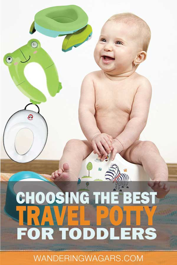 Toddler going potty in a travel potty