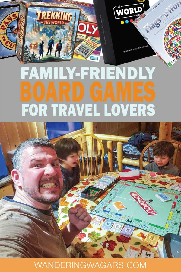 Family playing board games while traveling